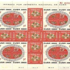 Selos: CUBA: 4 BLOQUES DE SERIE NAVIDAD 1960, LA MEJOR SERIE DE MUSICA EN HOJA COMPLETA NUEVA,. Lote 235171810