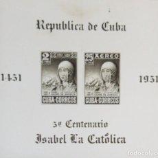 Sellos: O) 1952 CUBA - CARIBE, PRUEBA FOTOMECÁNICA, REINA ISABELLA I DE ESPAÑA, SOUVENIR SCT C50, XF. Lote 235187870