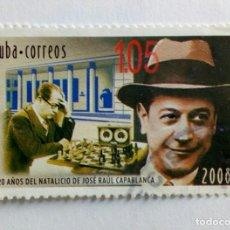 Sellos: CUBA 2008,120 ANIVERSÁRIO DE JOSÉ RAUL CAPABLANCA. Lote 235256415