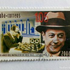 Francobolli: CUBA 2008,120 ANIVERSÁRIO DE JOSÉ RAUL CAPABLANCA. Lote 235256415