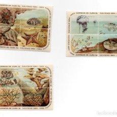 Sellos: CUBA - NAVIDAD / CHRISTMAS / CORALES / INVERTEBRADOS MARINOS - 3 HB DE 4 SELLOS - AÑO 1964 / 1965. Lote 235319040
