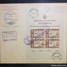 Sellos: CUBA REPUBLICA.1948. SOBRE PRIMER DIA ED.400. FDC. HOJA CONVENCION AIR MAIL SOCIETY. FDC-39. Lote 235370400