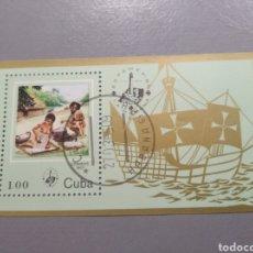 Sellos: HOJA BLOQUE SELLO CUBA AÑO 1985 ESPAMER 85 LA HABANA MATASELLADO. Lote 235712365