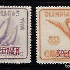 Sellos: CUBA: 1960; 2 SELLOS DE LAS OLIMPIADAS DE ROMA, RESELLADO SPECIMEN EN ROJO. TC002. Lote 236040240