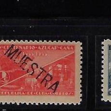 Sellos: CUBA: 1935; CENTENARIO AZUCAR DE CAÑA, 3 SELLOS, RESELLADOS MUESTRA, RAROS TC006. Lote 236044990