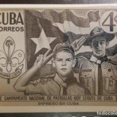 Sellos: O) 1954 CUBA - CARIBE, FOTOMECÁNICO, SCOUTS SALUTING, SCT 535 4C VERDE OSCURO, PUBLICAR LA PATRULLA. Lote 236471575