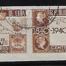 Sellos: CUBA: 1940; PAREJA DEL CENTENARIO DE SELLOS IMPERFORADA, USADA EN BUENAS CONDICIONES. Lote 236812320