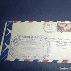 Sellos: SOBRE PRIMER DÍA CUBA 2-DIC- 1935 RUTA NUMETO 3 AÉREA HABANA-CIEGO DE AVILA AVIÓN MAIL. Lote 244668735
