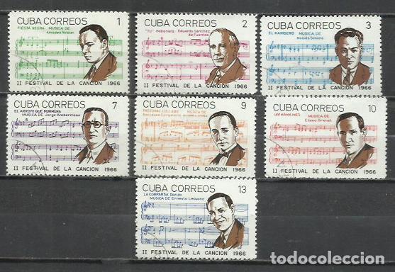 2558- SERE COMPLETA CUBA MUSICA MUSICOS 1966 Nº 1040/6 FESTIVAL DE LA CANCION CARIBE AMERICA (Sellos - Extranjero - América - Cuba)
