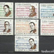 Sellos: 2558- SERE COMPLETA CUBA MUSICA MUSICOS 1966 Nº 1040/6 FESTIVAL DE LA CANCION CARIBE AMERICA. Lote 252374995