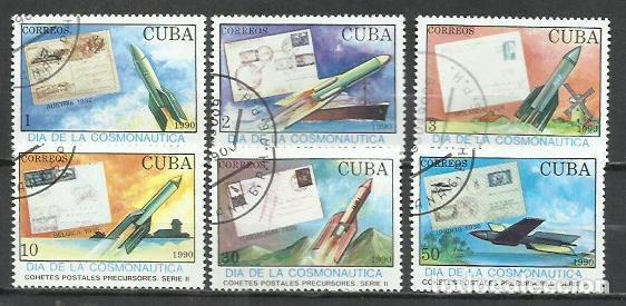 2552- SERE COMPLETA CUBA 1990 Nº3015/20 COHETES POSTALES PRECURSORES , HISTORIA POSTA. (Sellos - Extranjero - América - Cuba)