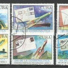 Sellos: 2552- SERE COMPLETA CUBA 1990 Nº3015/20 COHETES POSTALES PRECURSORES , HISTORIA POSTA.. Lote 252376425