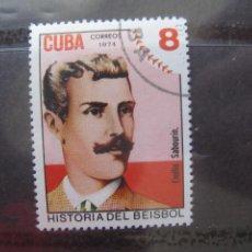 Sellos: *CUBA, 1974, HISTORIA DEL BEISBOL, EMILIO SABOURIN, YVERT 1806. Lote 255978590