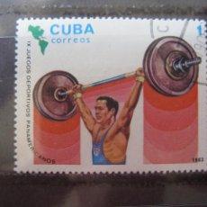 Sellos: *CUBA, 1983, 9 JUEGOS PANAMERICANOS EN CARACAS, HALTEROFILIA, YVERT 2443. Lote 255986405