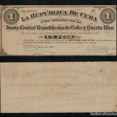 Sellos: CUBA 1 PESO NEW YORK 17 AGOSTO DE 1869 Nº 23736 POR MEDIO JUNTA CENTRAL Y PUERTO RICO.. Lote 256069140