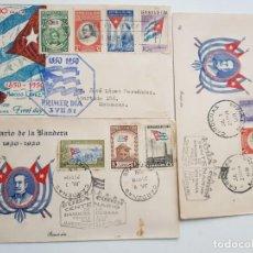 Sellos: CUBA FDC BANDERA COMPLETA CASA GALIAS Y LILY. Lote 261781875
