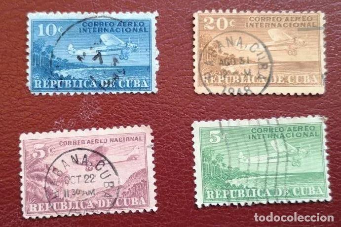 LOTE 4 SELLOS CORREO AEREO 1931 USADO (Sellos - Extranjero - América - Cuba)
