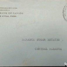 Sellos: O) 1939 CUBA, CARIBE, CALIXTO GARCIA, CIRCULADO DESDE CIEGO DE AVILA, THE ROYAK BANK OF CANADA, XF. Lote 289652153