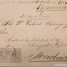Sellos: O) 1884 CUBA, CARIBE, REY ALFONSO XII, SCT 97 5C GRIS AZUL, CIRCULADO A MADRID, XF. Lote 289652398