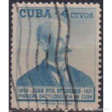Sellos: 531-3 CUBA 1957 U THE 100TH ANNIVERSARY OF THE BIRTH OF STEEGERS, FINGERPRINT PIONEER. Lote 293400363