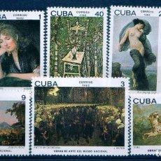 Sellos: GIROEXLIBRIS. CUBA.- 1982 PINTURA OBRAS DE ARTE DEL MUSEO NACIONAL CATÁLOGO EDIFIL Nº 2827/32**. Lote 293881263