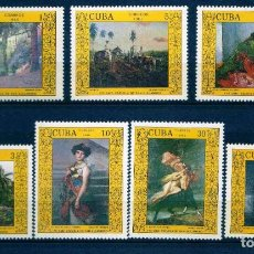 Sellos: GIROEXLIBRIS. CUBA.- 1988 PINTURA OBRAS DE ARTE DEL MUSEO NACIONAL CATÁLOGO EDIFIL Nº 3314/20**. Lote 293881838