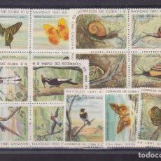 Sellos: FC3-213- CUBA . NAVIDAD 61/62 . AVES, CARACOLES, MARIPOSAS ** SIN FIJASELLOS. Lote 294058413
