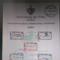 Sellos: SELLOS CUBA AÉREO 1955 HOJITA FDC CUPEX. GOMIGRAFO AMS 13-11-55. Lote 294577803