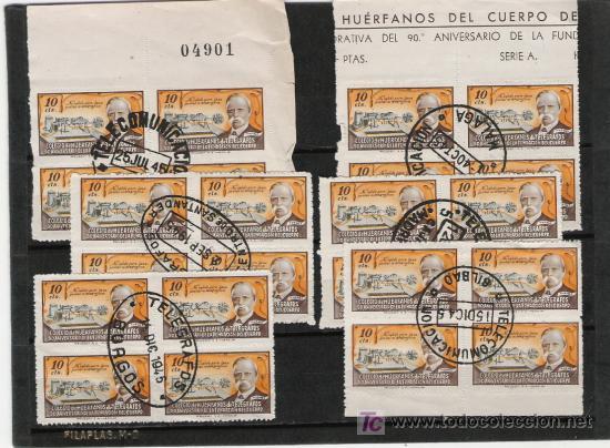 RARISIMO LOTE DE BLOQUES DE CUATRO DEL CUERPO DE HUERFANOS DE CORREOS DE PROVINCIAS ESPAÑOLAS (Sellos - España - Dependencias Postales - Telégrafos)