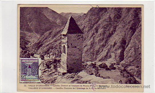 ANDORRA ESPAÑOLA TIPOS DIVERSOS 1948-1953 (EDIFIL 52) EN BONITA Y RARA TARJETA MAXIMA. MPM. (Sellos - España - Dependencias Postales - Tarjetas Máximas)
