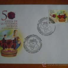 Sellos: SOBRE Y SELLO 50 ANIVERSARIO DE LA VENDIMIA RIOJANA 1º DIA CIRCULACION. Lote 25106592