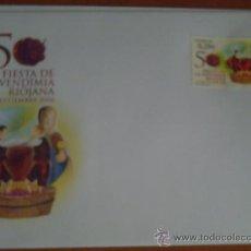 Sellos: SOBRE Y SELLO 50 ANIVERSARIO DE LA VENDIMIA RIOJANA 1º DIA CIRCULACION. Lote 25106594