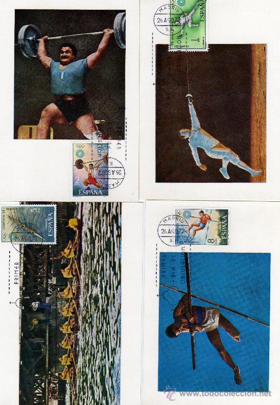 DEPORTES-JUEGOS OLIMPICOS DE MUNICH-SERIE COMPLETA DE 1972 (Sellos - España - Dependencias Postales - Tarjetas Máximas)