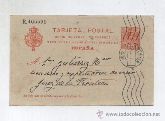 TARJETA ENTERO POSTAL Nº 53, 10 CTMOS. ANARANJADO, MEDALLON DE 2ª SERIE (Sellos - España - Dependencias Postales - Entero Postales)