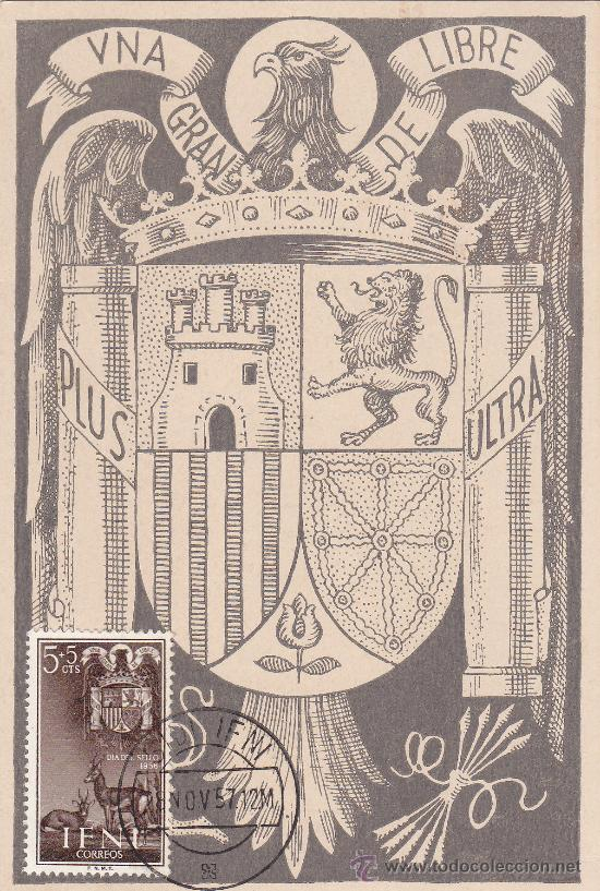 IFNI ESCUDO DE ESPAÑA DIA DEL SELLO 1956 (EDIFIL 132) EN BONITA Y RARA TARJETA MAXIMA. MPM. (Sellos - España - Dependencias Postales - Tarjetas Máximas)