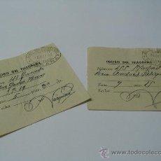 Sellos: 2 REGUARDOS DE TELEGRAMAS SELLO TINTA FIÑANA (ALMERIA) Y COLEGIO HUERFANOS TELEGRAFOS 1930. Lote 26605211