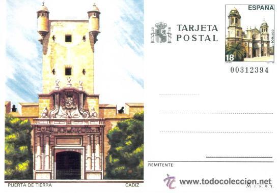 1 TARJETA ENTERO POSTAL---AÑO 1988---CADIZ (PUERTA DE TIERRA) (Sellos - España - Dependencias Postales - Entero Postales)