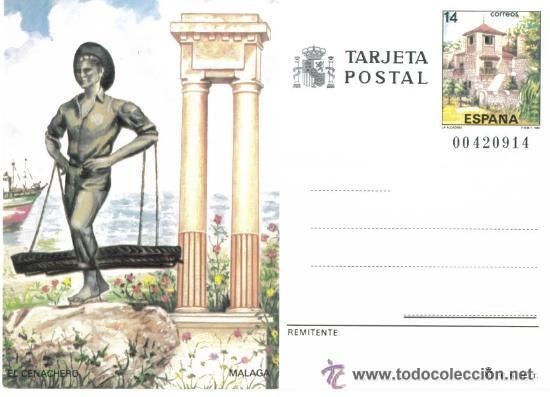 1 TARJETA ENTERO POSTAL---AÑO 1987---MALAGA (EL CENACHERO) (Sellos - España - Dependencias Postales - Entero Postales)