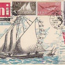 Selos: IFNI DIA DEL SELLO 1958 BARCOS Y PECES (EDIFIL 149/51) EN BONITA Y RARA TARJETA MAXIMA PRIMER DIA.. Lote 16518029