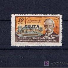Sellos: COLEGIO DE HUERFANOS DE TELEGRAFOS 10 CTS SOBRECARGADO CEUTA. Lote 17718197