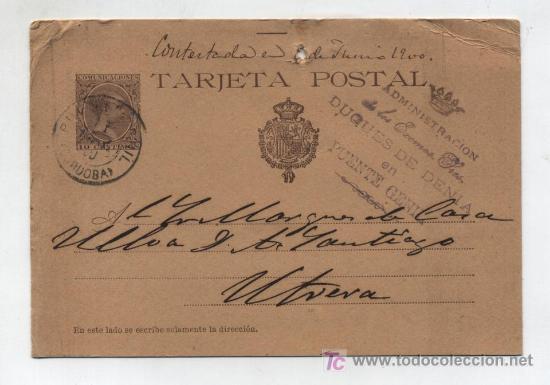 TARJETA ENTERO POSTAL Nº 36. 10 CTMS CASTAÑO.MATASELLADO EN PUENTE GENIL JUNIO 1900 CON SELLO DE (Sellos - España - Dependencias Postales - Entero Postales)