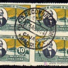 Sellos: MAGNIFICO BLOQUE DE CUATRO - SELLO COLEGIO HUERFANOS DE TELEGRAFOS - 89 ANIVERSARIO 1855-1944-10 CTS. Lote 21118109