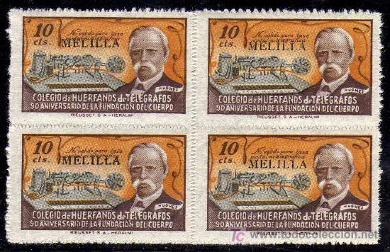 MAGNIFICO BLOQUE DE CUATRO- SELLO COLEGIO HUERFANOS DE TELEGRAFOS - 90 ANIVERSARIO - MELILLA -10 CTS (Sellos - España - Dependencias Postales - Telégrafos)