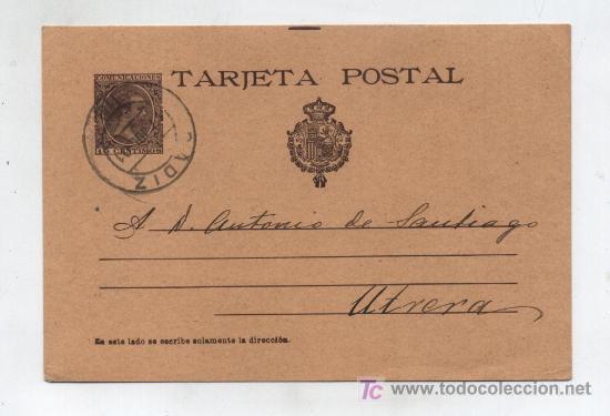 ENTERO POSTAL Nº 36. 10 CTS. CASTAÑO,MATASELLADO EN CADIZ EN 1901. (Sellos - España - Dependencias Postales - Entero Postales)