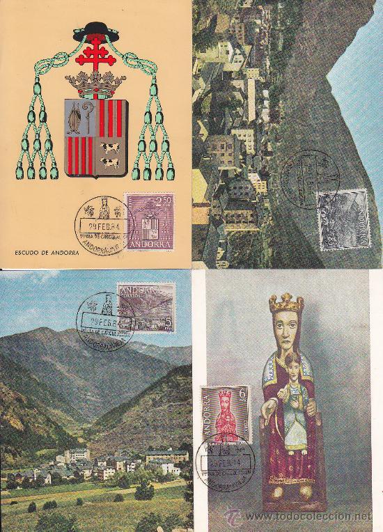 Sellos: ANDORRA ESPAÑOLA TIPOS DIVERSOS 1963-1964 (EDIFIL 60/67) EN OCHO TARJETAS MAXIMAS PRIMER DIA. MPM. - Foto 2 - 24055253