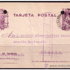 Sellos: ENTERO POSTAL 1937 REYES CATÓLICOS, CATÁLOGO ÁNGEL LAIZ Nº 81 (O) CENSURA. Lote 23466682