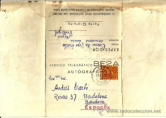 TELEGRAFO PORTUGAL CON SELLO Y MATASELLOS DE NAZARE - 1955 (Sellos - España - Dependencias Postales - Telégrafos)