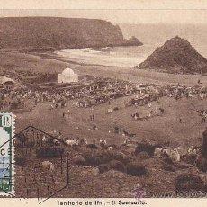 Sellos: IFNI EL SANTUARIO 1943 (EDIFIL 32) EN TARJETA MAXIMA MATASELLOS CORREO AEREO CERTIFICADO. RARA ASI.. Lote 28292291