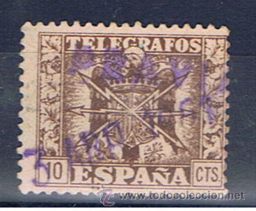 TELEGRAFOS 10 CTS FECHADOR 1951 PRAVIA (Sellos - España - Dependencias Postales - Telégrafos)