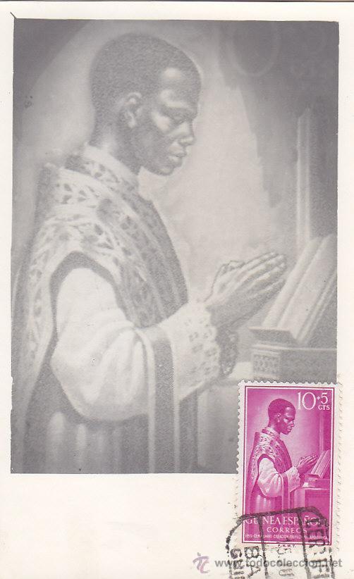 GUINEA ESPAÑOLA RELIGION CENTENARIO PREFECTURA 1955 (EDIFIL 344) EN BONITA Y RARA TARJETA MAXIMA. (Sellos - España - Dependencias Postales - Tarjetas Máximas)